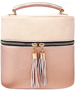Rich Faux Leather Medium Cross-Body Handbag With Tassel LP095 Nude/Rosegold