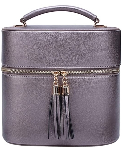Rich Faux Leather Medium Cross-Body Handbag With Tassel LP095  PEWTER