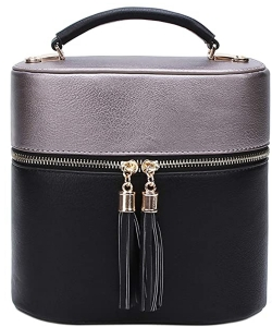 Rich Faux Leather Medium Cross-Body Handbag With Tassel LP095  PEWTER BLACK
