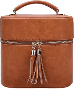 Rich Faux Leather Medium Cross-Body Handbag With Tassel LP095  TAN
