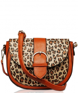 Leopard Skin Print Crossbody Satchel bag LP1784 BROWN