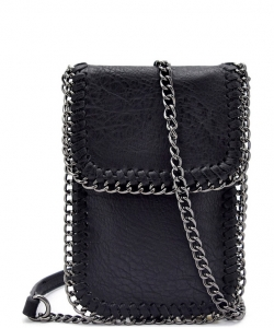 Whipstitch Accent Metal Chain Cross Body Cellphone Case LS2186- BLACK