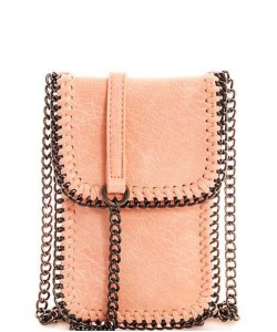 Whipstitch Accent Metal Chain Cross Body Cellphone Case LS2186- DBSH
