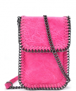 Whipstitch Accent Metal Chain Cross Body Cellphone Case LS2186- FUSHIA