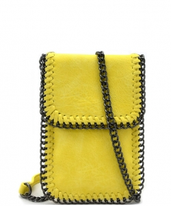 Whipstitch Accent Metal Chain Cross Body Cellphone Case LS2186- YELLOW