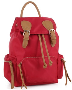 Basic Fashion Color Backpack LS3168 Red/Dark Tan