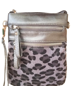 Women's Leopard Print Crossbody Bag LU006 PEWTER