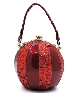 Fashion Faux Leather Color Block Patent Glitter Handbag LW-2038C BURGANDY/RED