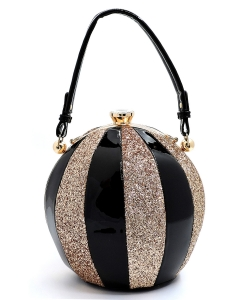 Fashion Faux Leather Color Block Patent Glitter Handbag LW-2038C ROYAL LW2038C BLACK/RGOLD