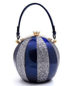 Fashion Faux Leather Color Block Patent Glitter Handbag LW-2038C ROYAL BLUE/SILVER