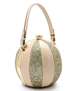 Fashion Faux Leather Color Block Patent Glitter Handbag LW-2038C NUDE/GOLD