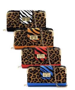 6 PCS PACK Leopard Zebra Colorblock Turn Lock Crossbody Wallet LZ041