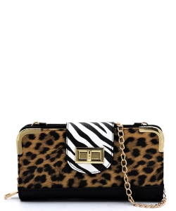 Leopard Zebra Colorblock Turn Lock Crossbody Wallet LZ041 BLACK