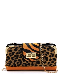 Leopard Zebra Colorblock Turn Lock Crossbody Wallet LZ041 MUSTARD