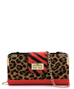 Leopard Zebra Colorblock Turn Lock Crossbody Wallet LZ041 RED