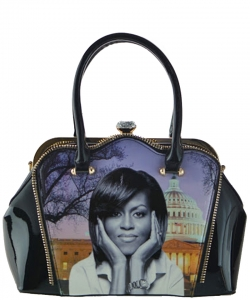 2in1 Michelle Obama Jewel top Satchel Bag