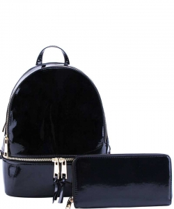 2 in 1 Chic Glossy Fashion Backpack with Matching Wallet  MH-1082-w BLACK