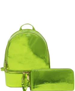 2 in 1 Chic Glossy Fashion Backpack with Matching Wallet  MH-1082-w LIME