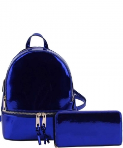2 in 1 Chic Glossy Fashion Backpack with Matching Wallet  MH-1082-w NAVY