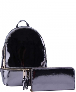2 in 1 Chic Glossy Fashion Backpack with Matching Wallet  MH-1082-w PEWTER