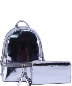 2 in 1 Chic Glossy Fashion Backpack with Matching Wallet  MH-1082-w SILVER
