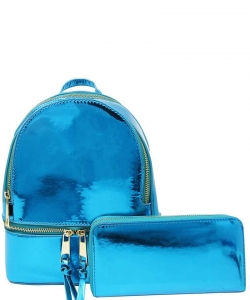 2 in 1 Chic Glossy Fashion Backpack with Matching Wallet  MH-1082-w TEAL