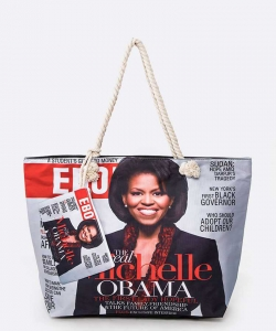 Michelle Obama Picture Printed Tote Set RED