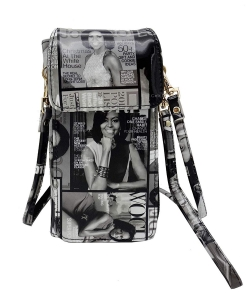 NEW Michelle Obama Cellphone Wallet Wristlet Collection mp3811 BLACK