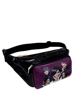 Magazine Print Designer Inspired Fanny Pack MQ3260 PURPLE