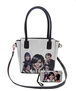2in1 Michelle Obama and Africa American Icons Style Handbags Collection  28mq6110 BLACK