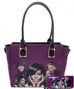 2in1 Michelle Obama and Africa American Icons Style Handbags Collection  28mq6110 PURPLE