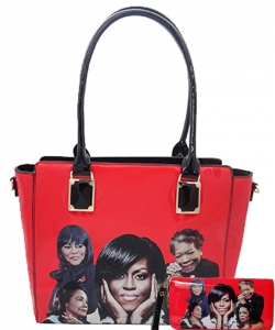 2in1 Michelle Obama and Africa American Icons Style Handbags Collection  28mq6110 RED
