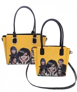 2 in 1 Michelle Obama and African American Icons Style Handbags Collection 28MQ6110 YELLOW