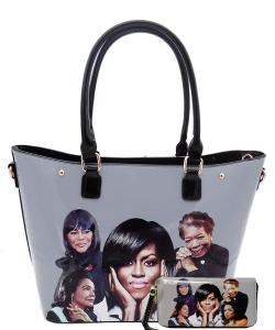 2in1 Michelle Obama and Africa American Icons Style Handbags Collection Tote Handbag 28mq6210 BLACK