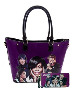 2in1 Michelle Obama and Africa American Icons Style Handbags Collection Tote Handbag 28mq6210 PURPLE