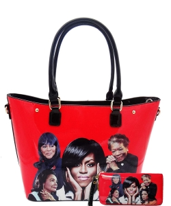 2in1 Michelle Obama and Africa American Icons Style Handbags Collection Tote Handbag 28mq6210 RED