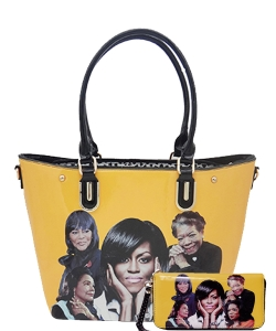 2in1 Michelle Obama and Africa American Icons Style Handbags Collection Tote Handbag 28mq6210 YELLOW