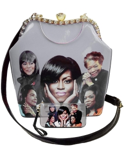 2in1 Michelle Obama and Africa American Icons Style Handbags Collection with Stone  28mq6210  BLACK