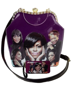2in1 Michelle Obama and Africa American Icons Style Handbags Collection with Stone 28mq6210 PURPLE