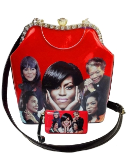 2in1 Michelle Obama and Africa American Icons Style Handbags Collection with Stone 28mq6210 RED