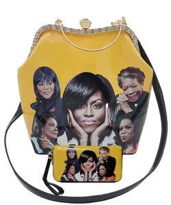 2in1 Michelle Obama and Africa American Icons Style Handbags Collection with Stone 28mq6210 YELLOW