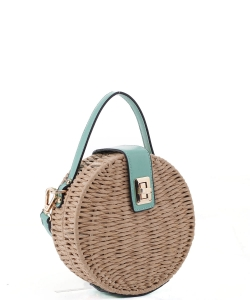 Round Turn-lock Woven Straw CrossbodyBag MT19727 MINT