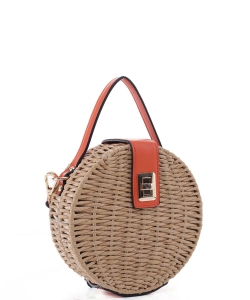 Round Turn-lock Woven Straw CrossbodyBag MT19727 ORANGE