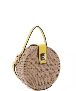 Round Turn-lock Woven Straw CrossbodyBag MT19727 YELLOW