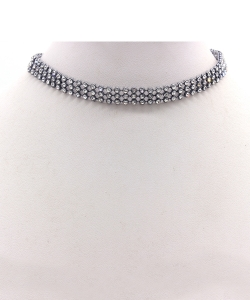 Clear Stone Choker Necklace NB300577 BLACK