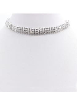 Clear Stone Choker Necklace NB300577 SILVER