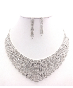 Rhinestone Necklace NB300599 SVCL