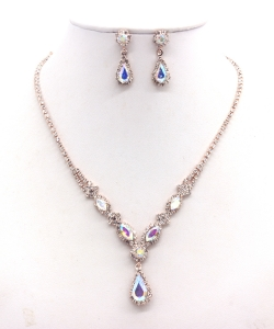 Rhinestone Necklace with Earrings  NB300608 RGAB