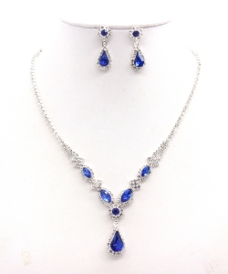Rhinestone Necklace with Earrings  NB300608 SVCB