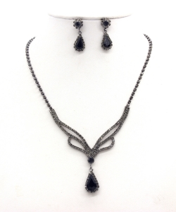 Rhinestone Necklace with Earrings NB300616 BNJT